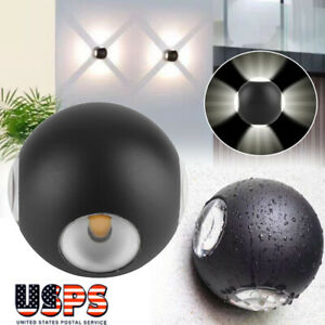 12W Modern 4LED Wall Lights Up/Down Outdoor/Indoor Lamp Sconce Ball Lamp IP65