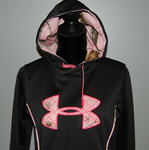 Under Armour Semi-Fitted Black & Pink Camo Long Sleeve Pullover  Hoodie Womens M