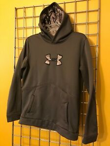 Under Armour Hoodie - Boys Size YXLG - Brown & Camo - Coldgear - Loose