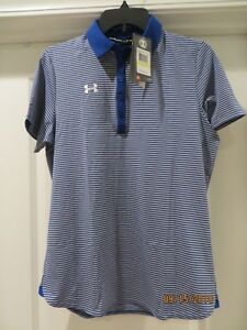 NWT NEW UNDER ARMOUR Women's Med Heat Gear Loose Golf Polo Shirt Top Blue Stripe