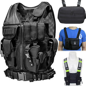 Tactical Vest Molle Police Assault Combat Plate Military Radio Chest Rig Bag US