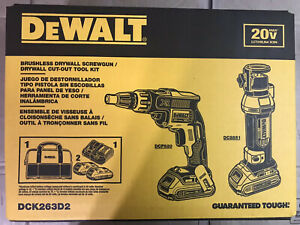 DEWALT DCK263D2 20-Volt MAX XR Drywall Screwgun/Cut-out Tool Combo Kit