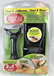 Miracle Peeler 2-in-1 Dual Blade Julienne Slicer Vegetable Peeler w/ Mandoline
