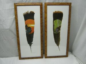 Pair of Signed Framed Numbered Hand Painted Turkey Feathers by Debbie Reutzel