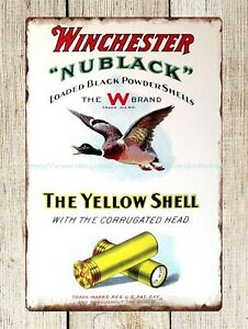 Winchester yellow shell ammo Nublack metal tin sign wall art designs