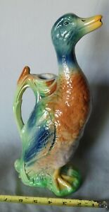 Antique French majolica duck pitcher absinthe St. Clement Keller Guerin ca. 1900