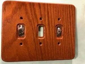 1 Dark Solid Wood Oak 3 Toggle Wall Switch Plate outlet Cover Very Nice