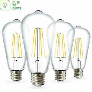 Sunco 4 Pack ST64 Vintage LED Bulb Dusk-to-Dawn 7W (60W) 3000K Warm White
