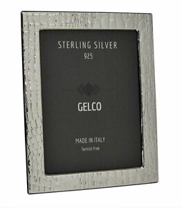 Gelco Italian 925 Sterling Silver amp; Wooden Leather Design Picture Frame 4x6