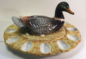 Italian Majolica Mallard Duck Deviled Egg Serving Platter/Covered  Dish c.1950s