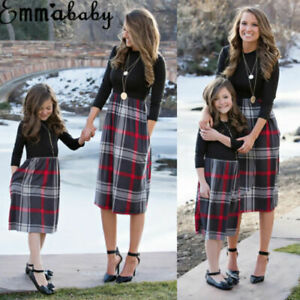 Mother and Daughter Christmas Dress Matching Women Girls Casual Family Clothing
