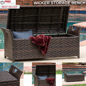 New Outdoor Wicker Storage Bench With Hinged Lid And 300 Pound Weight Capacity