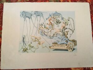 After Salvador Dali etching Le Char de Bacchus Chariot of Bacchus $350.00
