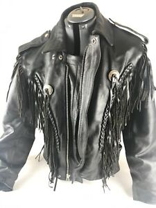 Heavy Leather Jacket Women Motorcycle Genuine size 38 With Tassels