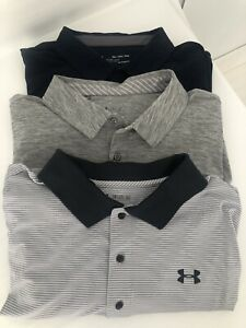 LOT OF 3 UNDER ARMOUR polos Shirts Size 3X. XXXL Loose Fit Heat gear NEVER WORN