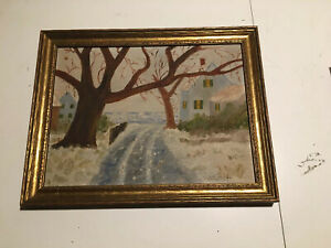 Antique signed E. HARRISON At Age 10 oil on canvas landscape. Beautiful Frame. $39.00