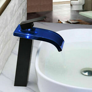 LED Waterfall Glass 1 Handle Bathroom Vessel Sink Mixer Faucet  $111.90
