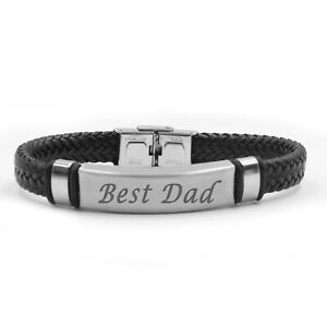 Best Dad Leather Braided Black and Brown Mens Engraved Bracelets Christmas Gifts