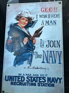 ANDE ROONEY 1917 NAVY RECRUITING PORCELAIN ENAMEL ON STEEL SIGN GROMMETED $59.99
