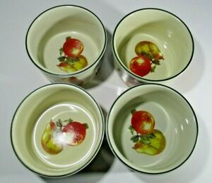Liddy Fruit and Vegetable Decorated Ramekin Bowls.10.5cm in diameter Stoneware.