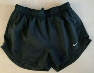 Nike Dri-Fit Womens ~ Medium ~ Solid Black Tempo Running Athletic Shorts A4