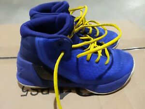 UNDER ARMOUR CURRY 3 'DUB NATION' BLUEYELLOW BASKETBALL SHOES KIDS YOUTH SZ 2Y