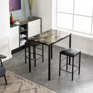 3 Piece Dining Table Set Black 2 Chair Marble Iron Kitchen Dining Room Breakfast