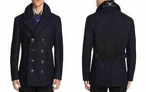 BURBERRY MENS KIRKHAM NAVY BLUE WOOL PEA COAT DOUBLE BREASTED JACKET Medium M