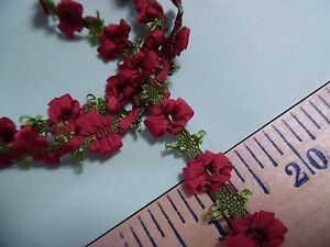SILKY FLOWER TRIM~WINE RED~12