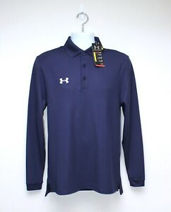 Mens UNDER ARMOUR Navy Long Sleeved Loose Polo - Sz. SMP