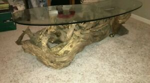 Art Driftwood Sofa Coffee Table - Hand Made glass kidney shaped designer rollers