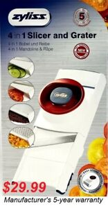 ZYLISS 4 in 1 Slicer Grater - Vegetable Cutter, Adjustable & Collapsible - NEW