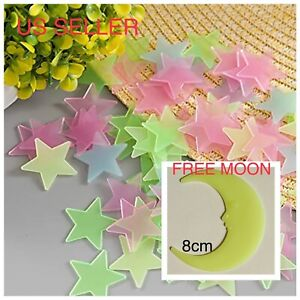 40 200Pc Stars Glow In The Dark Stickers Wall Decal Kids Bedroom *FREE 🌙 MOON