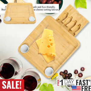 Cheese Board & Tableware Set with Slide-Out Drawer Bamboo Cutting Serving Tray
