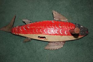 SCARCE vintage AFRICAN TRIBAL Hand Carved wood FISH Ceremonial noise maker lure