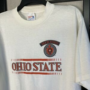 Vintage 80s Ohio State University Buckeyes College White T shirt XL E2