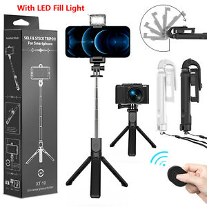 Extendable LED Selfie Stick Tripod Wireless Remote Stand Fr iPhone 11 12 Pro Max $11.95
