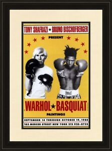 Jean Michel Basquiat Andy Warhol 1985 Boxing Exhibition Poster Framed POP ART $185.00