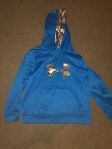 UNDER ARMOUR YMD M MED MEDIUM BLUE HOODIE BOYS NICE CAMO *81* $8.99
