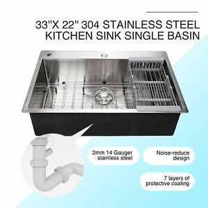 33 x 22 x 9 Top Mount Kitchen Sink Stainless Steel Single Basin w Strainer