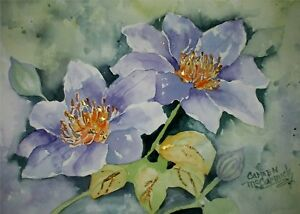 Great Gift Clematis original.signed by artist 912