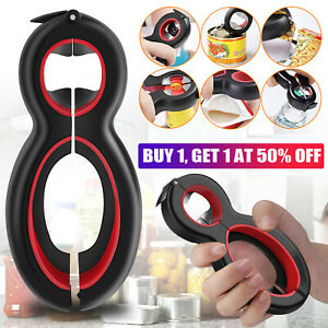 6 in1 Twist Bottle Opener All in One Jar Gripper Can Remover Multi Kitchen Tools