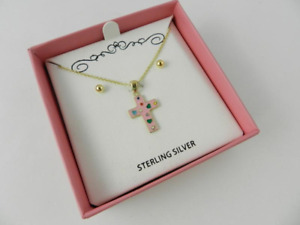 Sterling Silver Pink Cross Necklace with Gold Ball Earrings New
