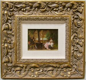 Aft Marcus Stone Signed 19th C French Salon Paris Victorian Lovers Oil Miniature