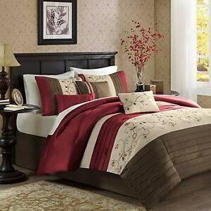 Madison Park Queen Embroidered 6 Piece Duvet Cover Set In Red Finish MP12 1095