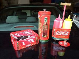 Coca Cola Coke Tin Condiment Caddy Napkins Straw antique kit BEST OFFER $199.00