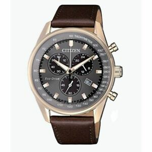 Citizen Eco Drive Men's Grey Dial Chronograph Leather Band 40mm Watch AT2393 25H