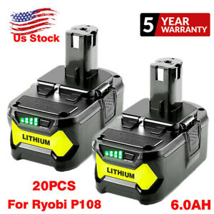 18V For Ryobi P108 One+ Plus Lithium High Capacity Battery 6.0Ah P104 P105 P102