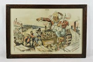 Antique 19th Century Puck Political Cartoon King Monopoly Dalrymple Lithograph $35.00