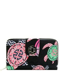NGIL Black Under The Sea Turtle Quilted Wallet $20.99